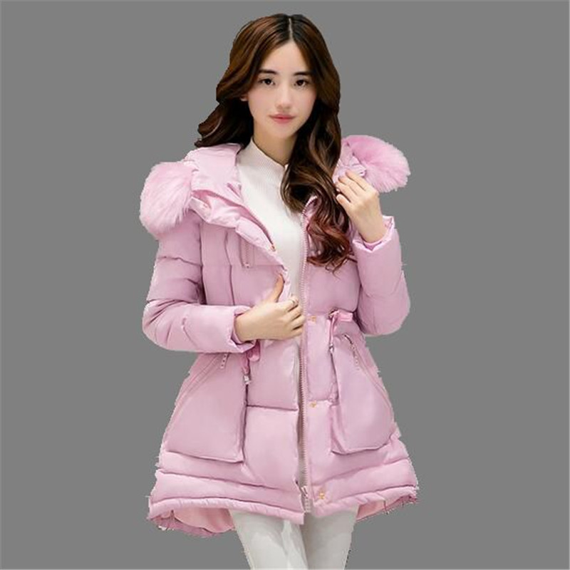 2016 Winter Down Jacket Women Long Coat Parkas Female Warm Padded Cotton Coat Thicken Fur Collar