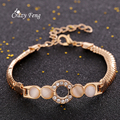 Women's Charm Opal Bracelet Gold Plated Chain & Link Bracelets For Women Round Hollow Crystal Braclets Bangles