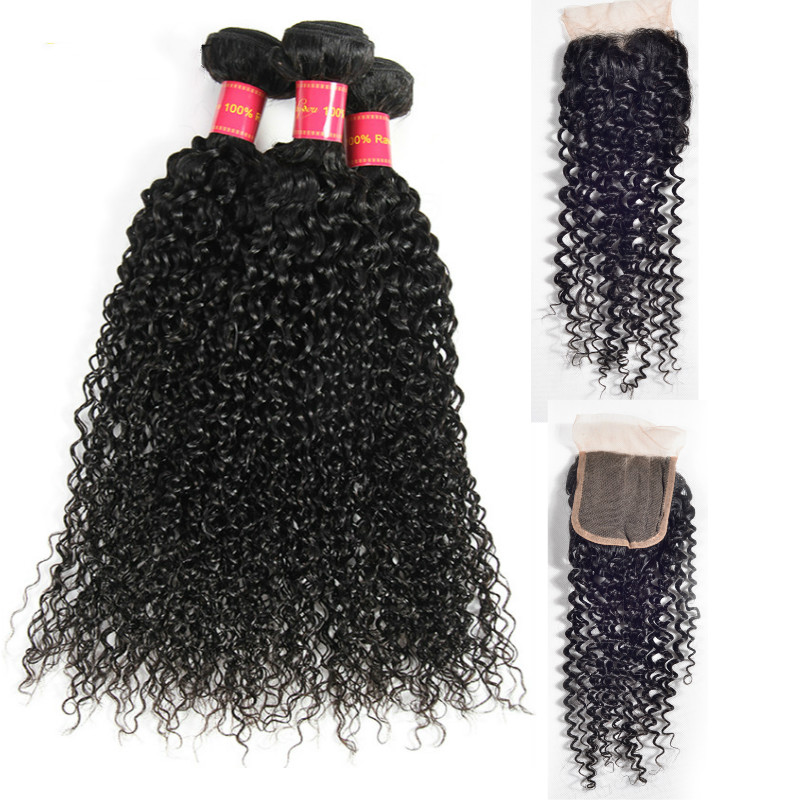 Devotion Hair Pre-colored Peruvian Kinky Curly 3 Bundles with Closure 100% Human Hair With Closure Non-Remy Hair Extensions