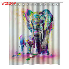 WONZOM 3D Elephant Shower Curtain with 12 Hooks For Bathroom Decor Modern Polyester Bath Waterproof Accessories