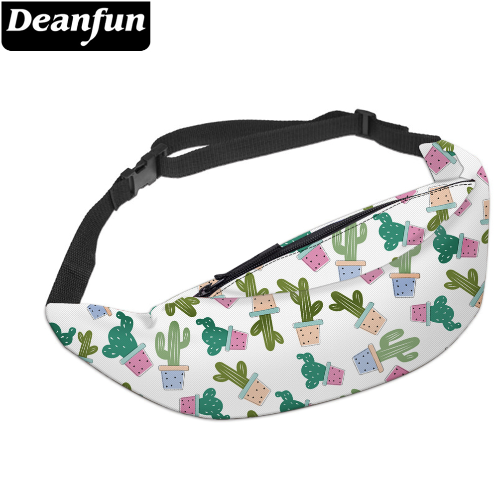 Deanfun 3D Printed Cactus Waist Bags Fanny Pack With Zipper For Travelling YB18