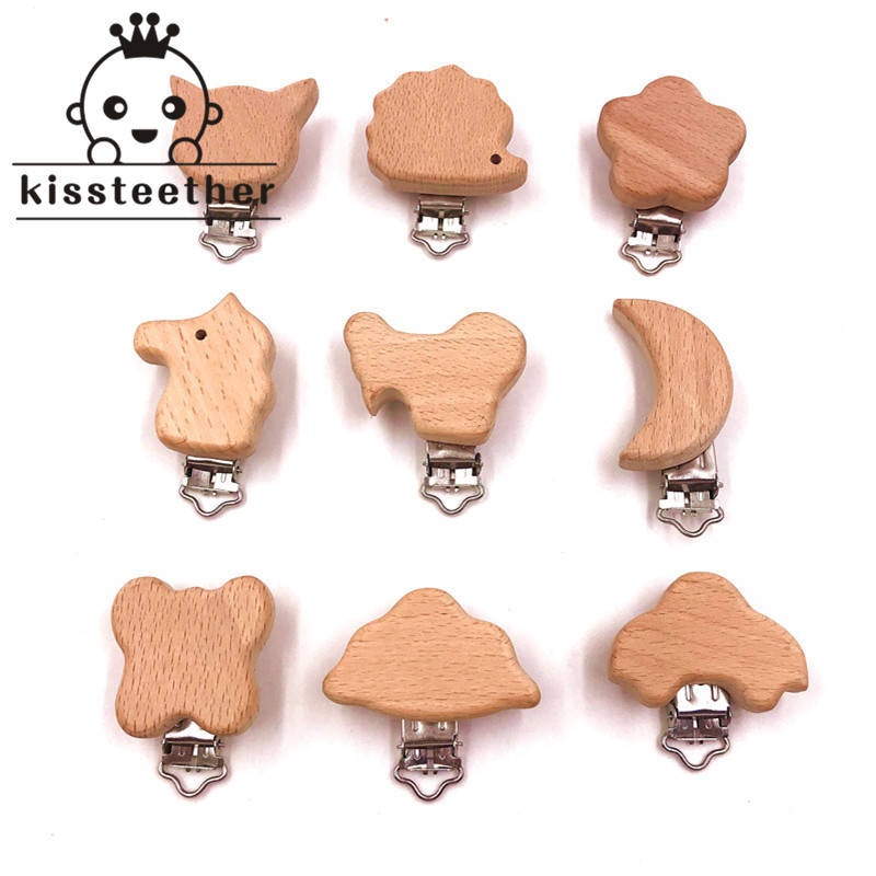 10pcs 2018 New Style Beech Wooden Pacifier Clips Animal Shape Pacifier Holder Dummy Nipple Clip Baby Fashion Wood Teether