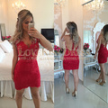Red Lace Appliques Scoop Neck Nude See Through Back Tank Sleeves Sheath Short Designer Party Dress Cocktail Dress Vestido Curto