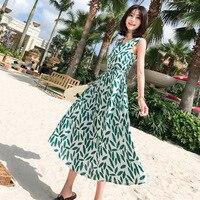 MUMUZI 2018 Summer Mid Dress Floral Print Boho Beach Dress Tunic Swing Dress Women Evening Green Dress Sundress Vestidos de fest