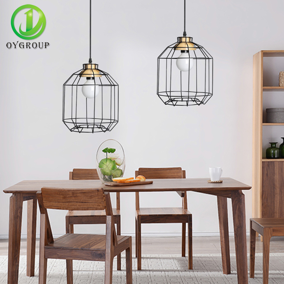 New vintage iron black hanging pendant light lamps industrial loft new vintage iron black hanging pendant light lamps industrial loft retro fixture wire cage for coffee dining room oy16p01 in pendant lights from lights greentooth Choice Image
