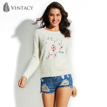 Vintacy Autumn Knitting Sweater Women Pullover White Embroidered Flower Bird Knitted Wool Sweater 2018 Fall Winter Women Sweater(China)