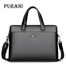 PURANI Luxury Brand Genuine Leather Men Tote Bag Fashion Mens Business Laptop Bags Real Messenger for Briefcase