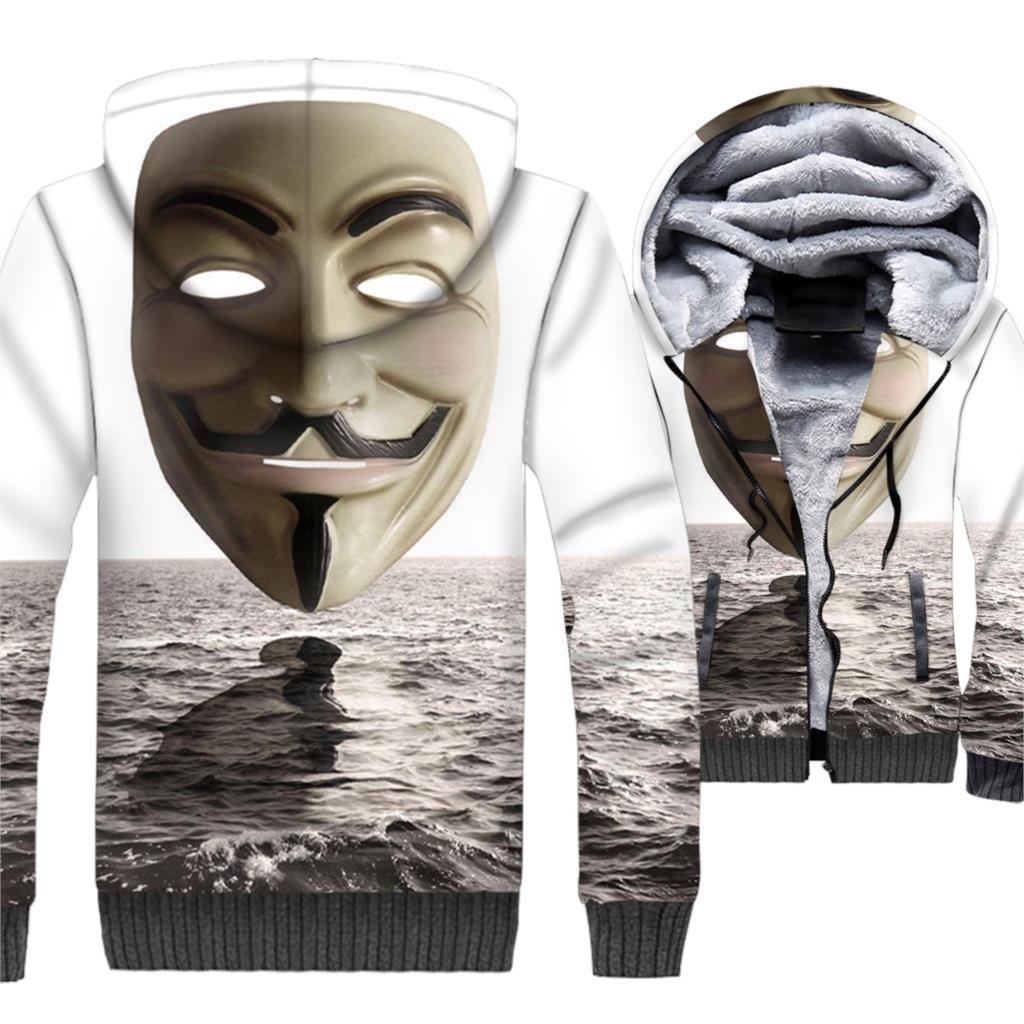 V for Vendetta Hoodies Men 3D Jacket Crossfit Hooded Sweatshirt 2018 Winter Thick Fleece Warm Zipper Coat Harajuku Streetwear