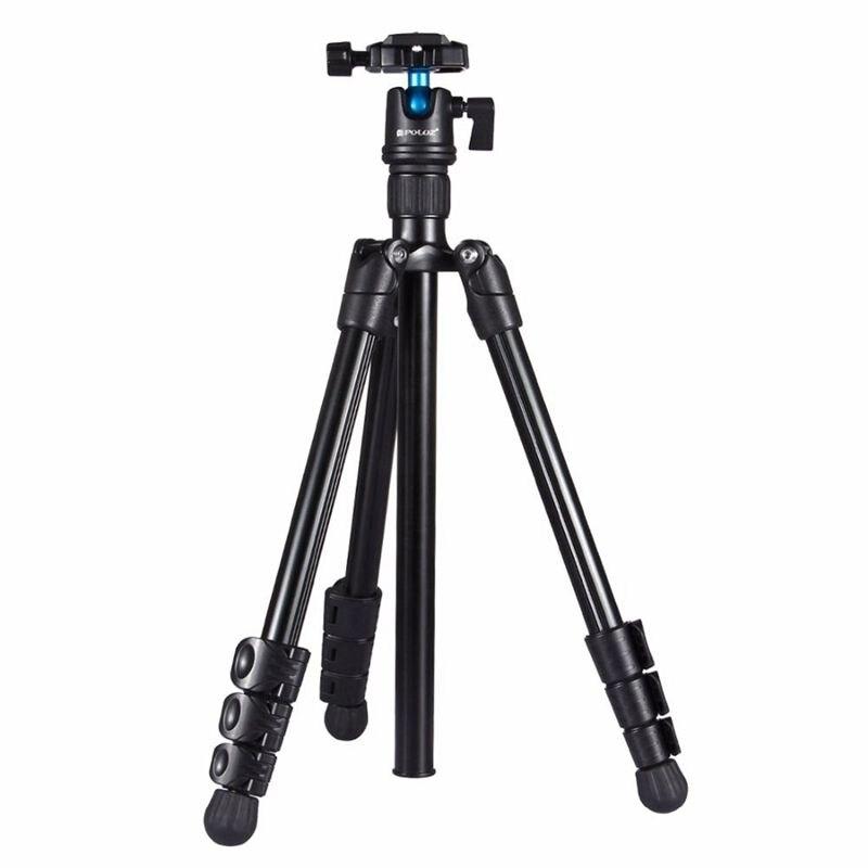 PULUZ pliable appareil photo support de trépied 4 sections pieds pliants métal trépied avec 360 degrés rotule pour DSLR & Digital Camer