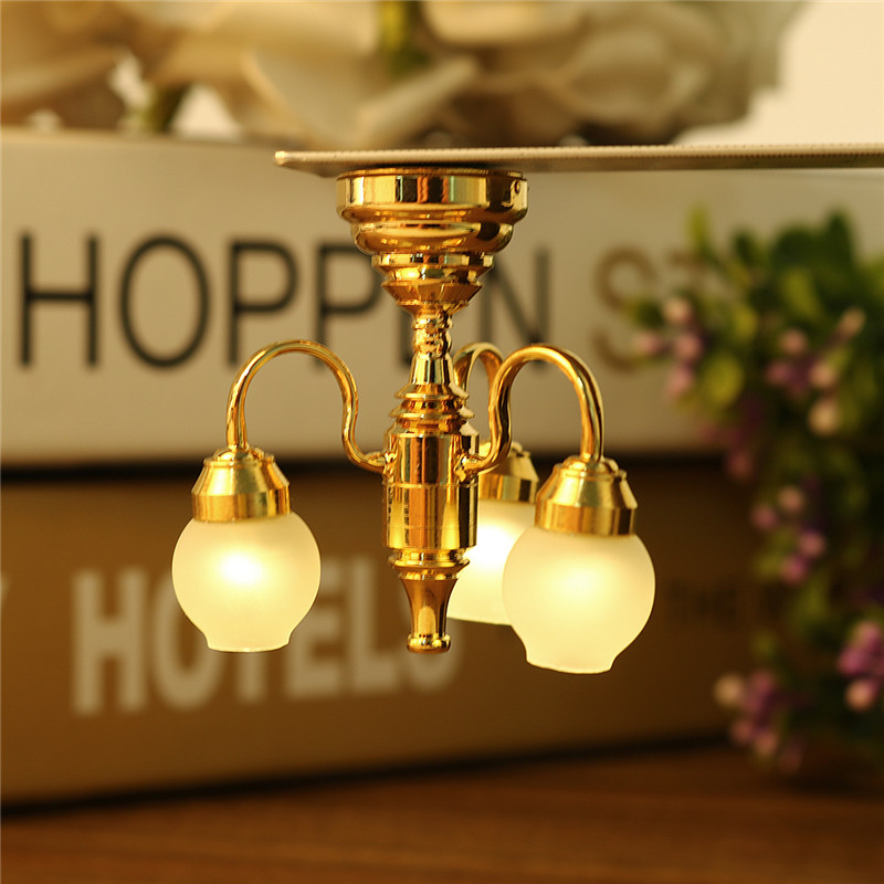 Exquisite New 1 12 Scale Dollhouse 3 Arm Golden Chandelier Led Glass Lamp Miniature Light Diy Ornament Decoration In Figurines Miniatures From Home