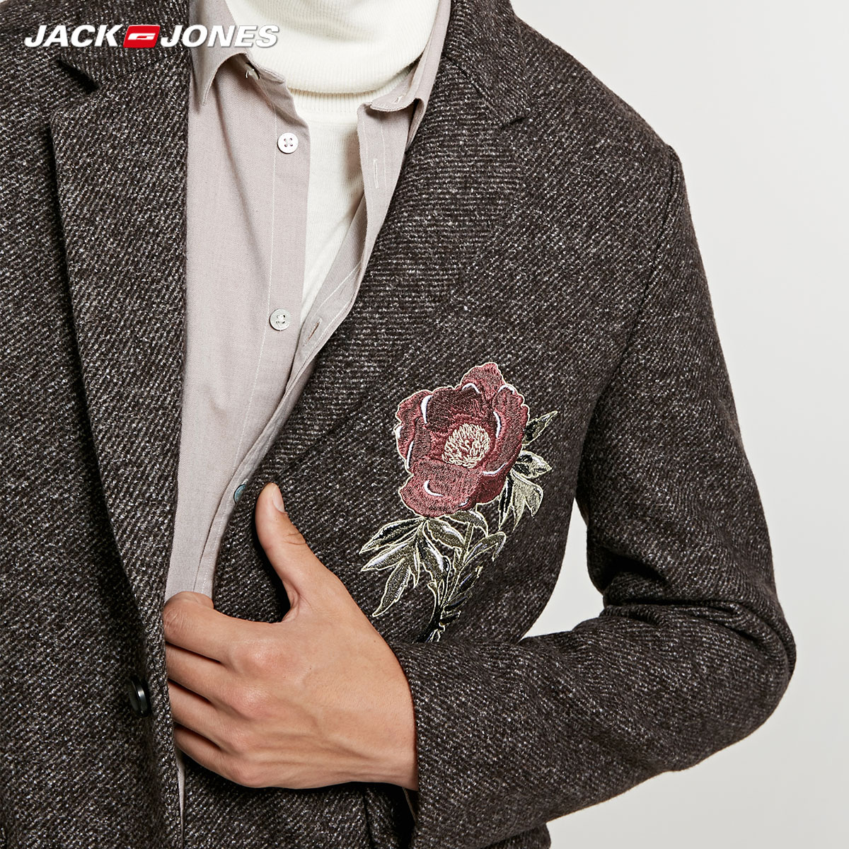 jack Jones embroidery mid long wool coat Jacket Parka 218327523 in Wool amp Blends from Men 39 s Clothing