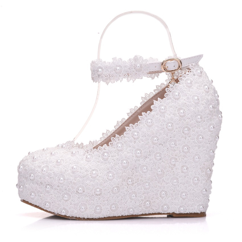 e3b42df367f 2018 Sweet White Flower Lace Girl Adult Ceremony Shoes Wedges Heel Wedding  Pumps Platform Pump Shoes Bride Dress High Heels-in Women s Pumps from Shoes  on ...