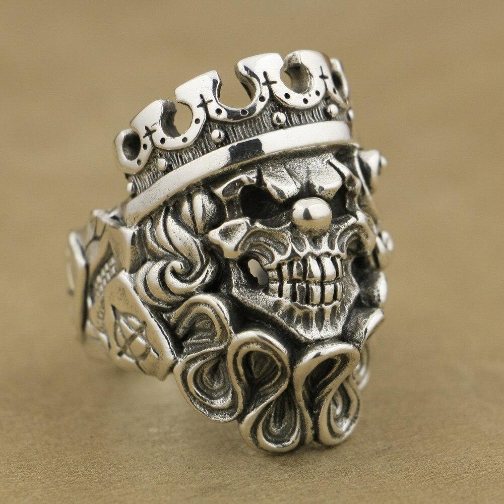 Linsion ручной работы 925 серебро Джокер Череп Клоун король мужские Байкер панк кольцо ta70 нам Размеры 7 ~ 15