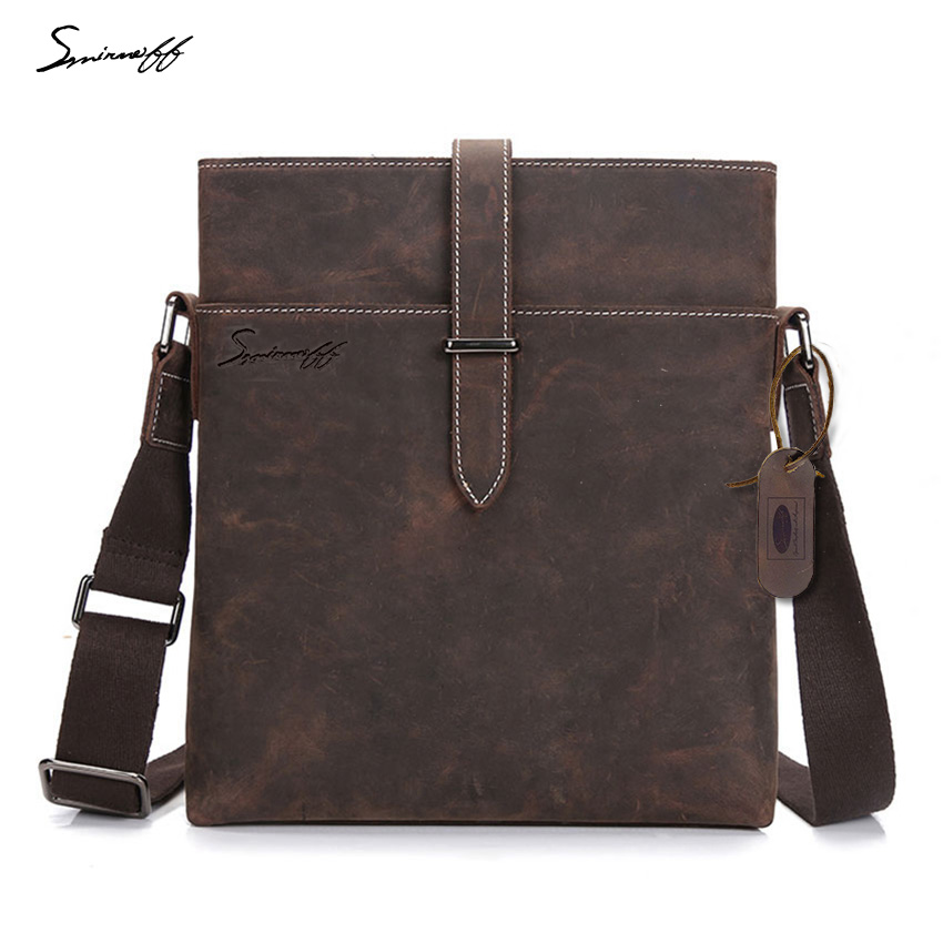 SMIRNOFF 2017 Crazy Horse Genuine Leather Men Small Shoulder Bags Designer Handbag Notebook Crossbody Messenger Blet Bag Man simline 2017 vintage genuine crazy horse leather cowhide men men s messenger bag small shoulder crossbody bags handbags for man