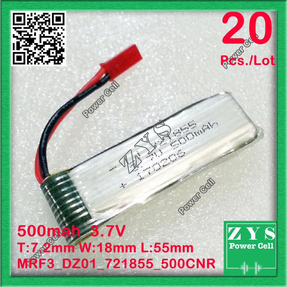 20 pcs./Lot Safety Packing, 2 pin 3.7V lithium Polymer <font><b>battery</b></font> <font><b>721855</b></font> 500mah for UAV UAS Drone Zone mini drone fpv 7.2x18x55mm image