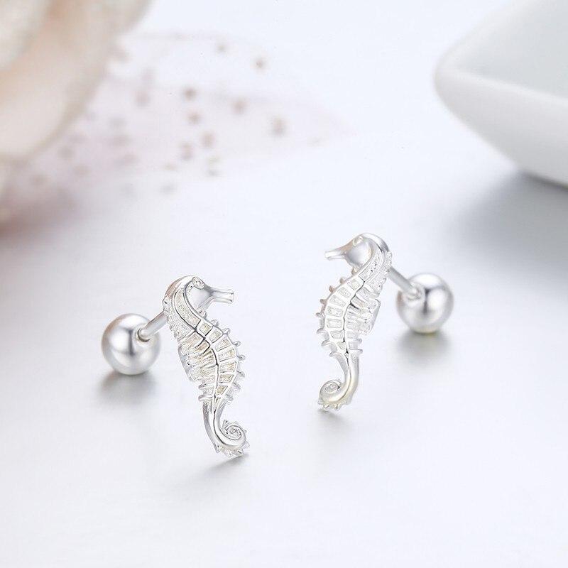 Cute Pure 925 Sterling Silver Seahorse Stud Earrings