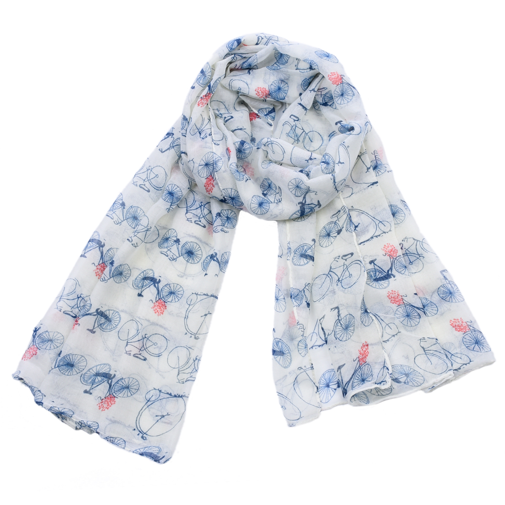 Hot sale Woman Viscose   Scarf   Campus Wind Bike Printing Hijab Women's   Scarves   PATCHWORK Chiffon soft Scarfs Shawl   Scarves     Wraps