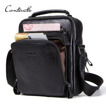 CONTACT'S 100% جلد أصلي للرجال حقيبة كتف crossbody أكياس للرجال عالية الجودة bolsas الأزياء حقيبة ساعي ل 9.7