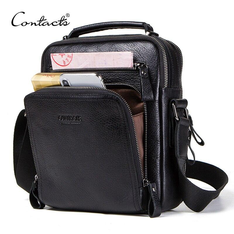 CONTACT'S 100% en cuir véritable hommes sac à bandoulière sacs pour hommes de haute qualité bolsas mode messenger sac pour 9.7