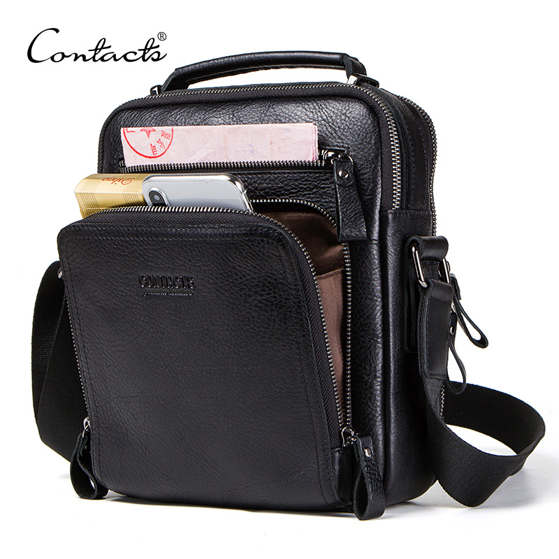 CONTACT'S 100% Genuine Leather Men Shoulder Bag Crossbody Bags For Men High Quality Bolsas Fashion Messenger Bag For 9.7