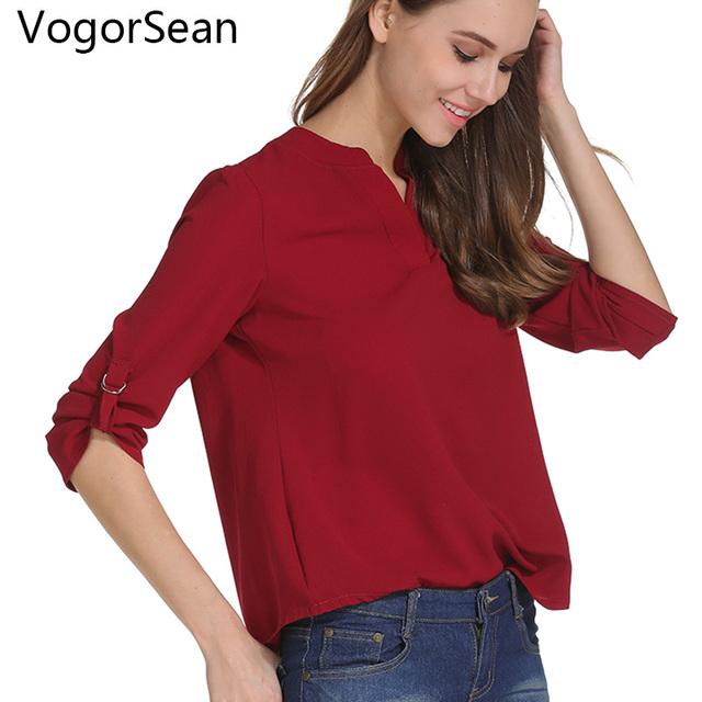 Blusa de las mujeres, camisa de primavera otoño Tops y blusas de gasa Casual mujer cuello en V Ropa de señora de la Oficina para trabajar Plus tamaño