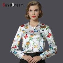 Чистый ШЕЛК Тутового блузка Женщины с длинным рукавом работа Бренд Печати атласа Blusas femininas Офис леди СТРЕТЧ Плюс размер 2016 НОВЫЙ рубашка