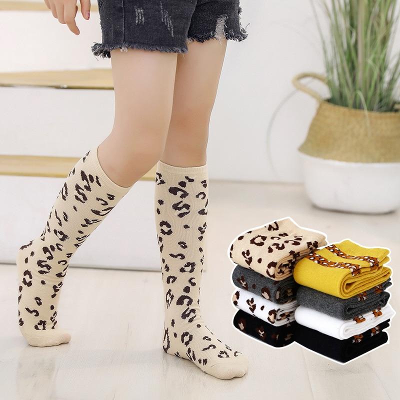 Spring Autumn Girls Knee High Socks Leopard Print Striped Soft Warmer Cotton Long Socks Kids 2-12T Retails Wholesale Socks Baby