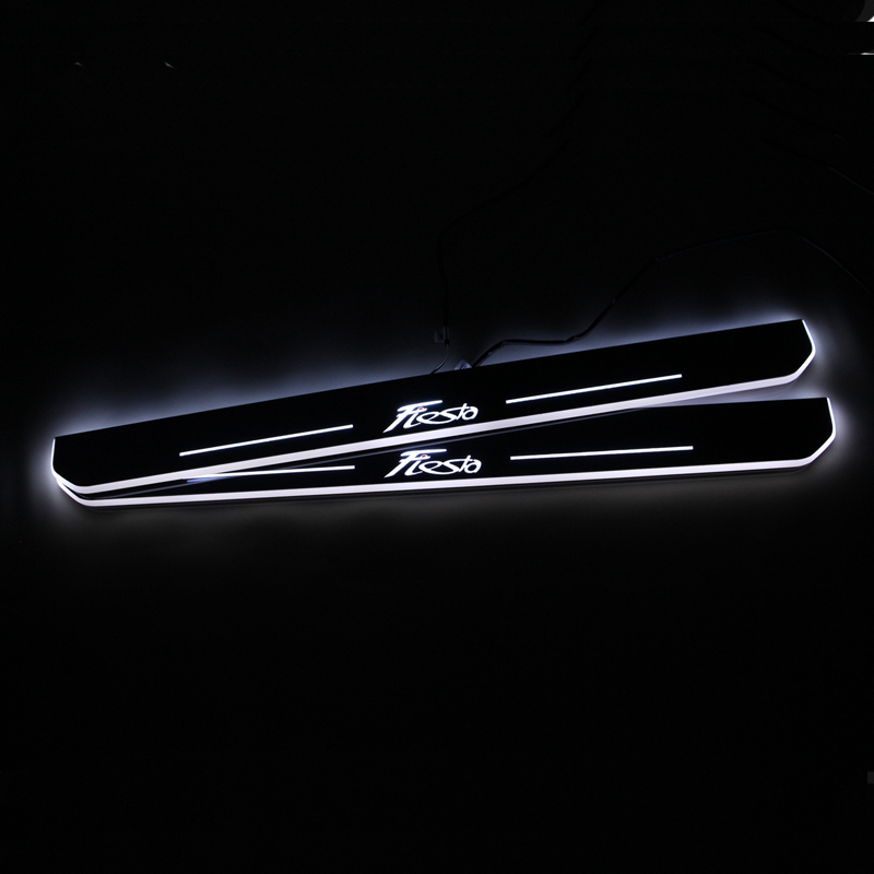 SNCN LED Car Scuff Plate Trim Pedal Door Sill Pathway Moving Welcome Light For Ford Fiesta