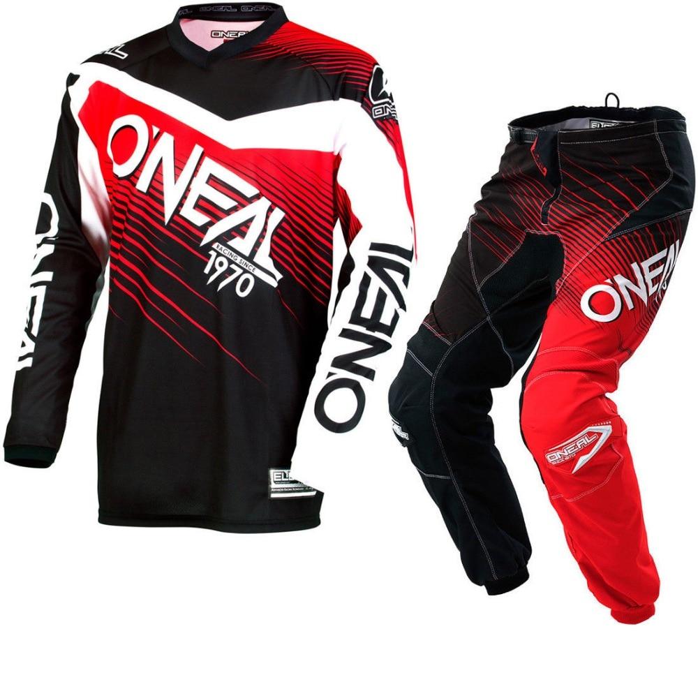 2018 NEW Oneal MX Element Black Red Jersey Pant Dirt Bike Biking Racing Motocross Jerseys Set брюки asics брюки jersey pant