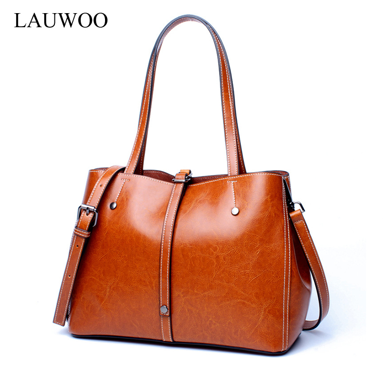 LAUWOO Luxury brand Women fashion cow leather tote bag Female Casual Leisure Crossbody Bag Lady 's real cowskin shoulder bags lauwoo fashion women luxury brand handbag female crocodile prints genuine leather shoulder bag lady elegant tassels tote bags