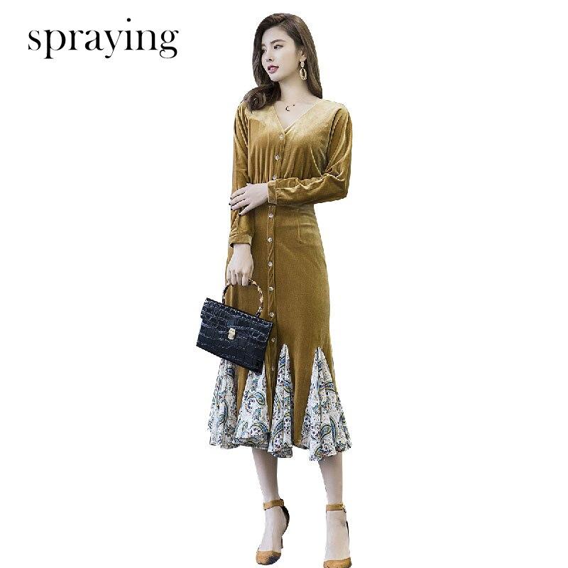 Sukienka wygodne i proste sukienki aksamitne 2019 wiosna nowy jednolity kolor z długim rękawem, dekolt w serek szyfonowa patchwork trąbka sukienka w Suknie od Odzież damska na  Grupa 1