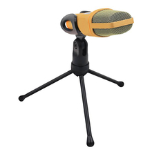 Universal 3.5mm Microphone Audio Condenser Mic Studio Sound Recording Wired Microphone with Stand for Radio Braodcasting Golden