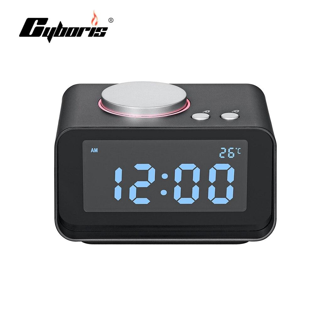 Cyboris Snooze Ridio Réveil Affichage LED Haut-Parleur Avec Double USB Chargeur et Fonction FM Pour Mp3 Mp4 Téléphone Portable Ipad ordinateur