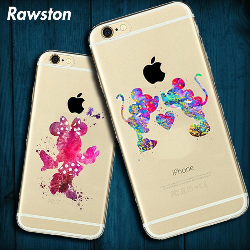 Cute Cartoon Silicone Case for iPhone 7 Mickey Minnie Mouse Princess Snow White Mermaid Cover for iPhone6 8 Plus 5s SE coque