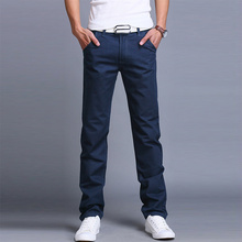 Fashion Business Casual Pants Men Cotton Slim Straight Trousers Autumn Summer 2019 Long Solid Color