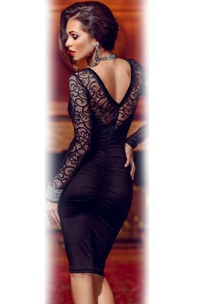 ce4f8d2f474f Dearlove 2017 Vestidos Femininos Long Sleeve Celebrity Fl Applique Lace  Bodycon Midi Dresses Lc60820 Autumn Winter
