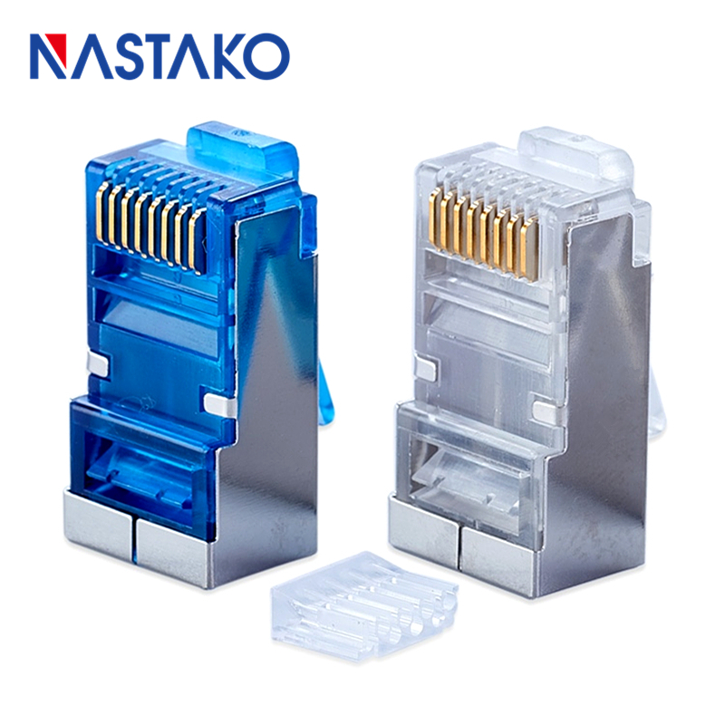 RJ45 Connector Cat6 Connector 8P8C Cat5e Cat6 Metal Shielded Terminals Jack Rj45 Network Cable Modular Plugs With Wires Guider