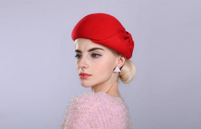 de2edea2eba13 Fibonacci Noble Elegant Women Wool Felt Beret Bride Headdress Fedora Hat  Dinner Party Wedding Hats. 11 12 13 14 15 16 17 18 19