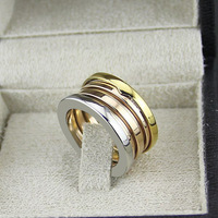Wholesale Brand Jewelry Fashion 316L Titanium Steel 3 Mix Color Spring Rings For Women Men Couple