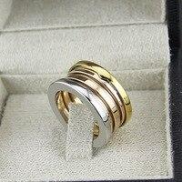 Sỉ nhãn hiệu trang sức Thời Trang 316L thép titanium 3 mix màu mùa xuân nhẫn đối với phụ nữ men couple engagement wedding tình yêu nhẫn