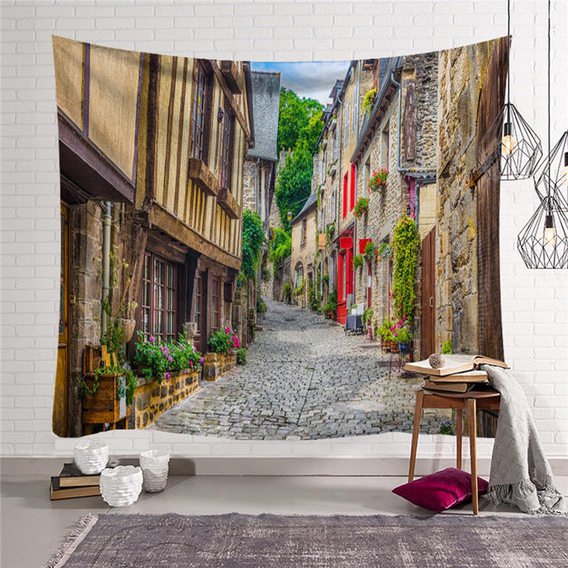 European Town Printed Tapestry Hippie Retro Wall Hanging Carpet Throw Yoga Mat Beach Towel for Home Bedroom Decoration 150cm in Tapestry from Home Garden