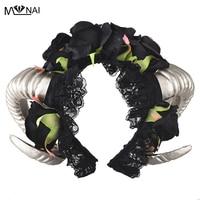 Handmade Horn Headband Halloween Animal Fairy Cosplay Prop Vintage Black Rose Lace Veil Hair Accessories