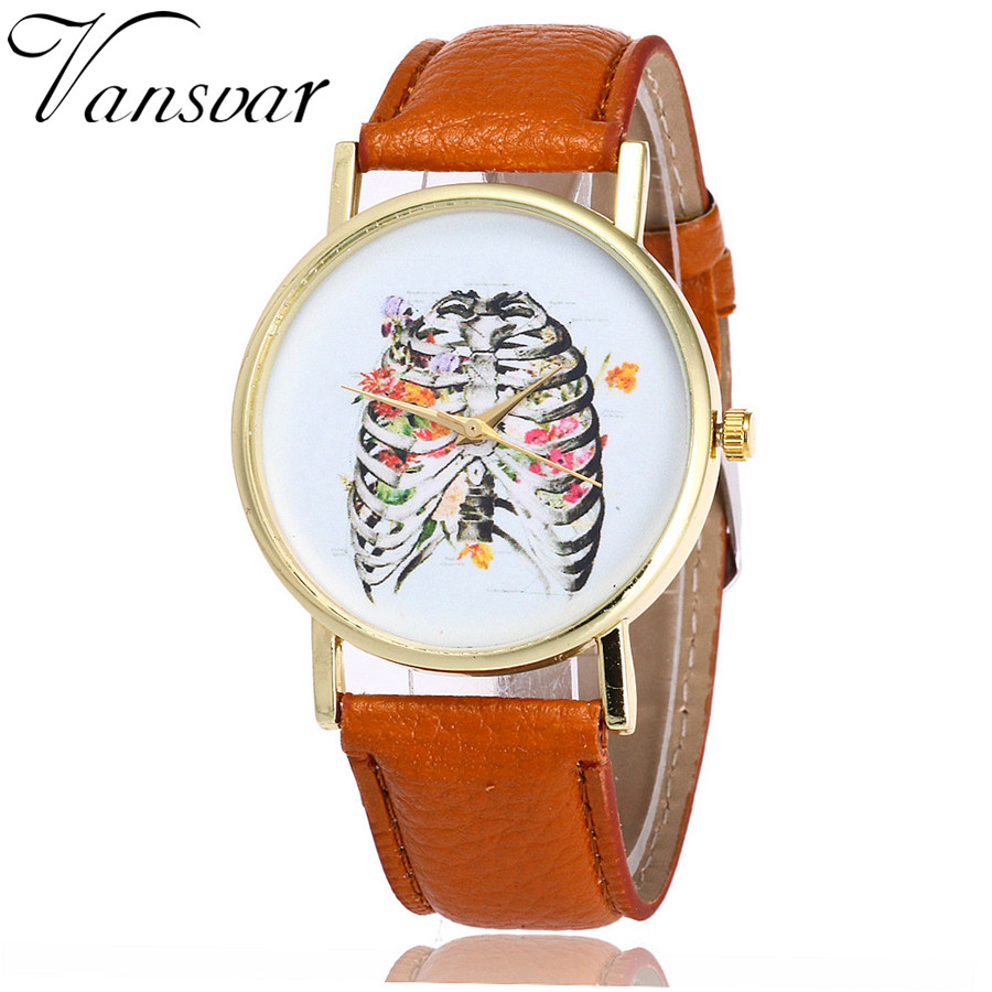 Vansvar New Fashion Floral Rib Cage Watch Casual Women Dress Wrist Watches Ladies Quartz Watches Relogio Feminino V19 vansvar fashion good things are going to happen watch casual women quotes wrist watch leather quarzt watch relogio feminino v29