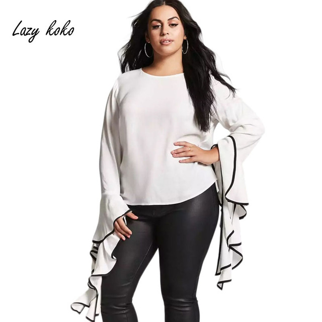 2143906418de5 Lazy KoKo Plus Size Bell-Sleeve Top Fashion White Blouse O-Neck Women  Shirts Winter Autumn Long Sleeve Shirt 3XL 4XL 5XL 6XL