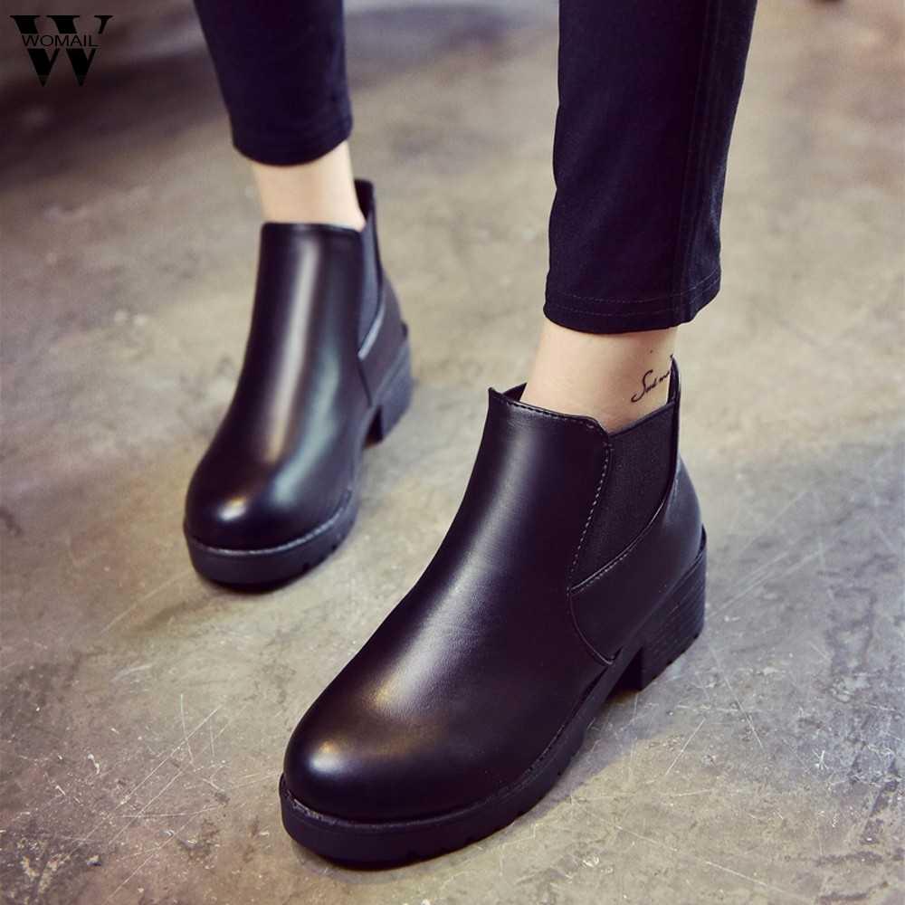 Mới 2019 Giày Bốt Nữ Da Thật Chính Hãng Da Phẳng Bằng Giày Cho Mùa Đông Giày Người Phụ Nữ Thường Ngày Mùa Xuân Chính Hãng Gót Chelsea Mắt Cá Chân Giày giày