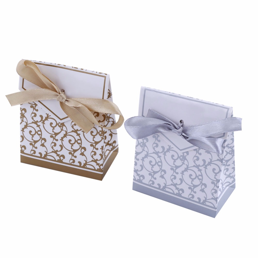 10 PCS Golden Silver Gift Candy Boxes Wedding Candies Bags Party ...