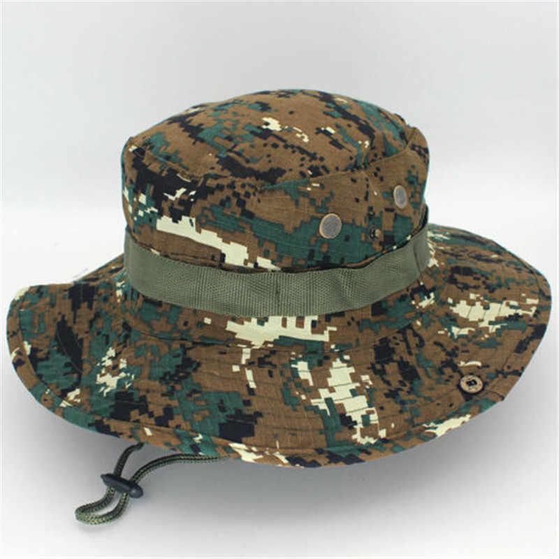 2019 قبعة الشمس بنما دلو رفرف قبعة تنفس Boonie متعددة حدبة النيبالية Boonie التمويه القبعات في الهواء الطلق الصيد قبعات واسعة الحافة