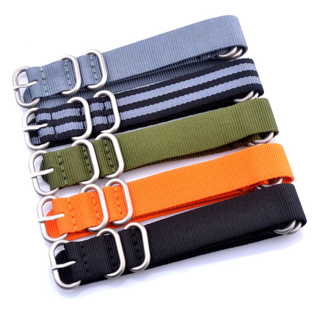 2017 20mm 22mm 24mm Nylon Watch Band Strap Men Watch Band Solid color Zulu Nylon green grey black colors Watch Band Straps neopine hs 3gery nylon wrist band strap for digital cameras gopro hero black grey 27cm