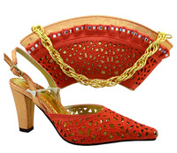 Excellent Coarl Women Shoe And Bag To Match Set For Party Italian Design Shoes And Handbag