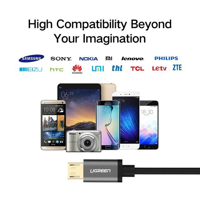Ugreen Micro USB Câble Pour Samsung Xiaomi Android 3 M 2 M Rapide de charge USB Câble de Données Microusb Fil Mini USB Mobile Téléphone Câbles